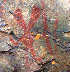Pictogram of Nanabozho the Great Hare on Mazinaw Rock, Ontario